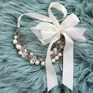 Pearls and Ribbons Statement Necklace
